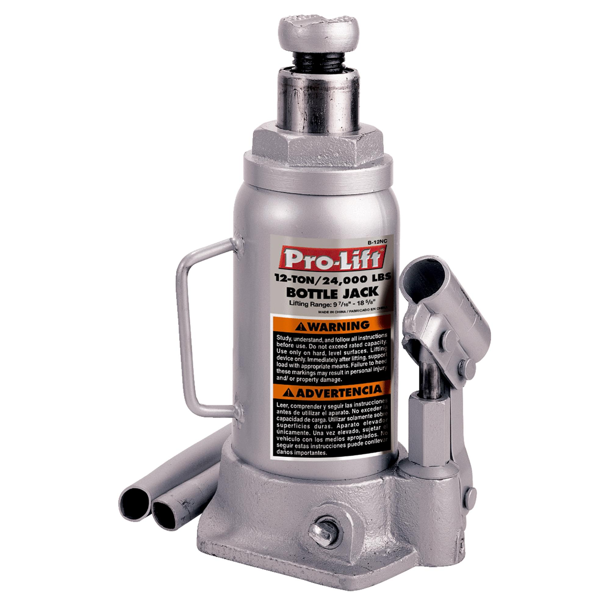 Pro-Lift B-012D Grey Hydraulic Bottle Jack, 12 Ton Capacity