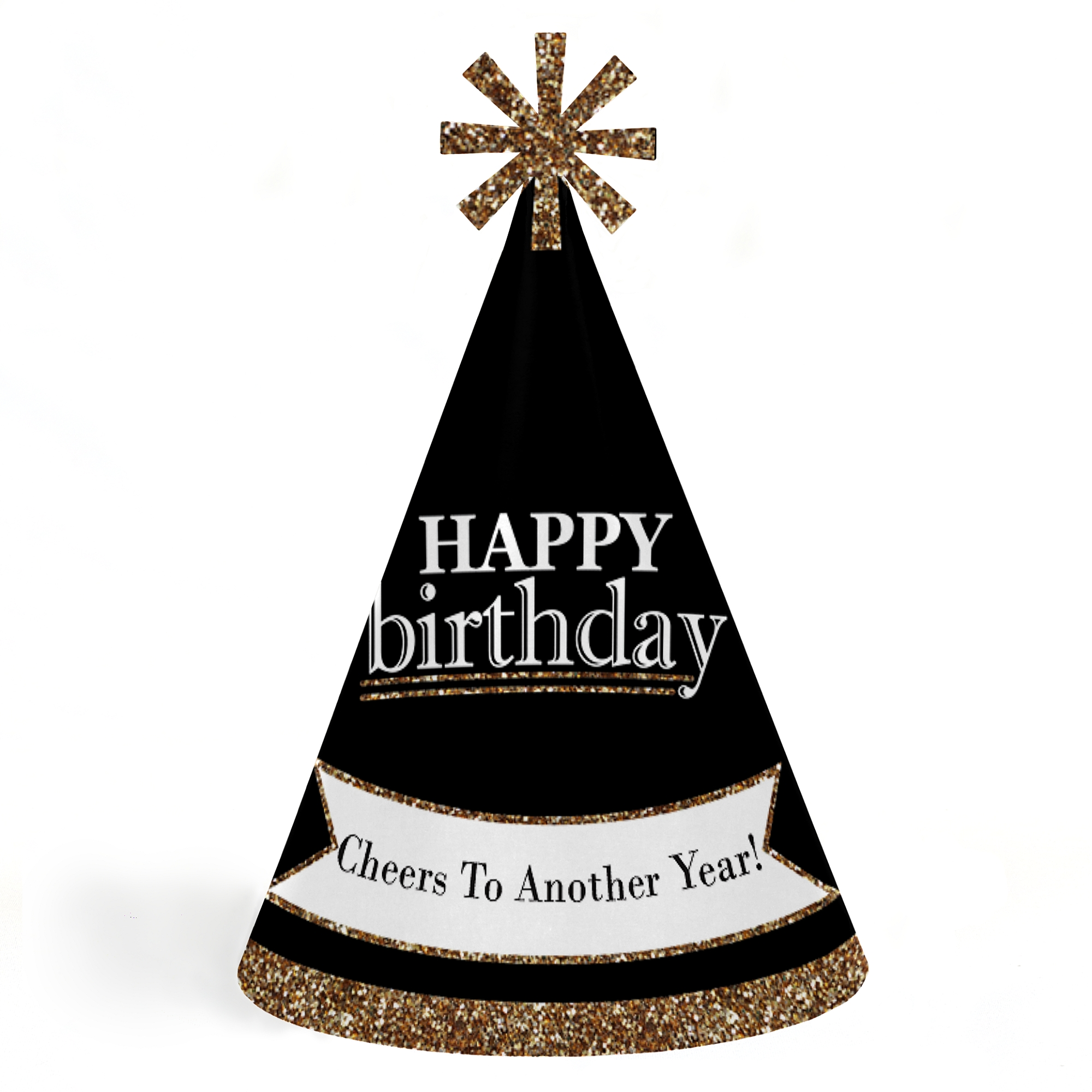 Adults Happy Birthday - Gold - Cone Birthday Party Hats for Kids and Adults - Set of 8 (Standard Size)