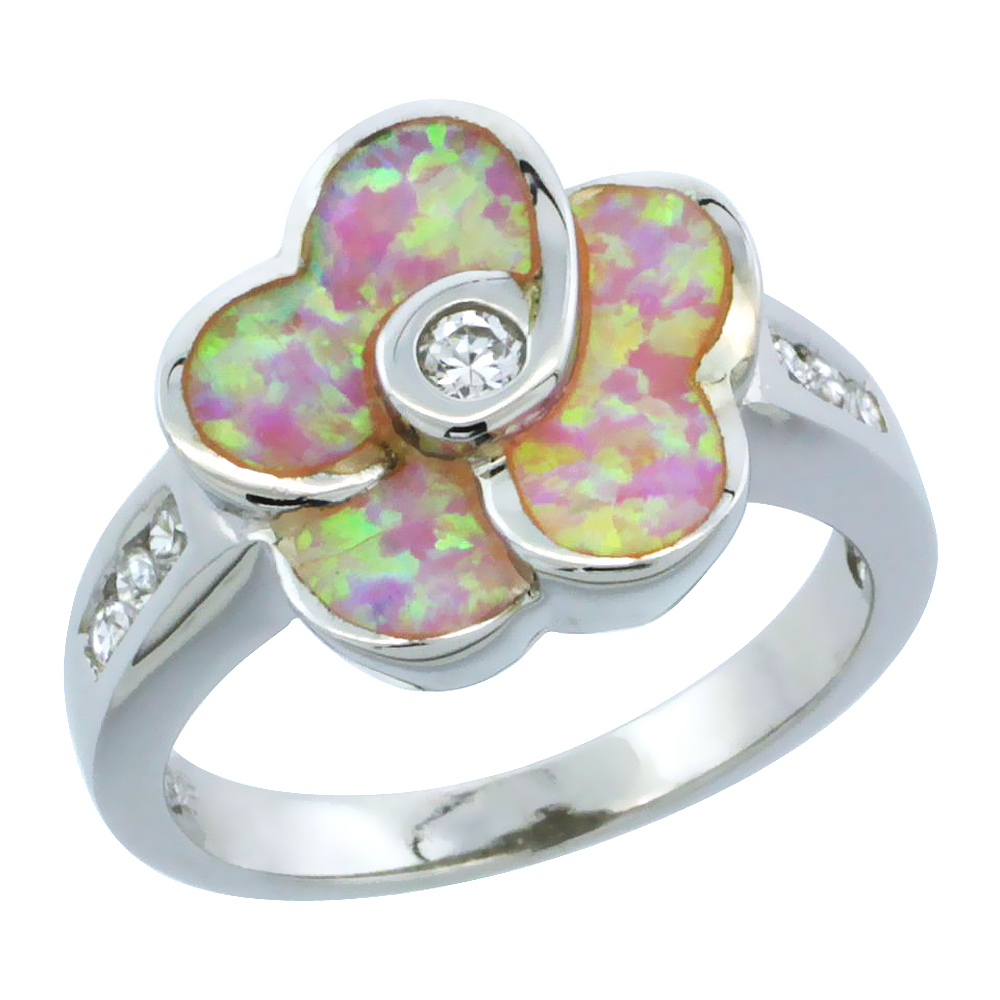 Sterling Silver Synthetic Pink Opal Flower Ring Cubic Zirconia Accent, 5 8 inch by WorldJewels