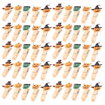 Halloween Wooden Pumpkin Design Craft Photo Paper Pegs Clips Clamps 50pcs for $<!---->