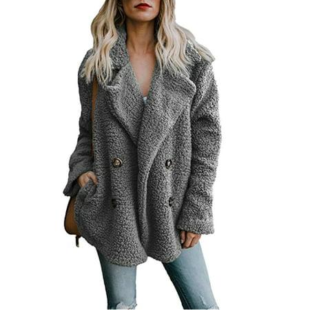 Button Jacket Coat - Womens Button Fluffy Jacket Cardigans Ladies Warm Jumper Fleece Faux Fur Coat Hoodie Outwear