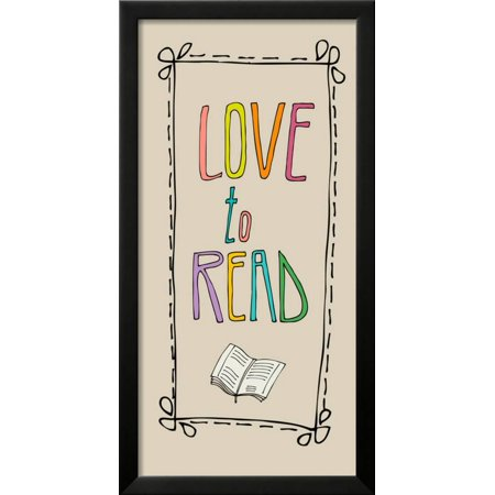 Background with Retro Colored Letters Love to Read Framed Print Wall ...