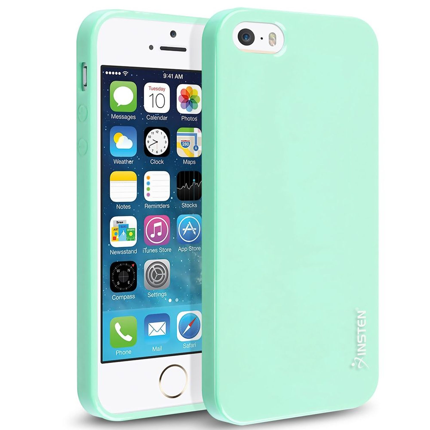 Insten TPU Rubber Skin Case For Apple iPhone SE / 5 / 5s, Mint Green Jelly