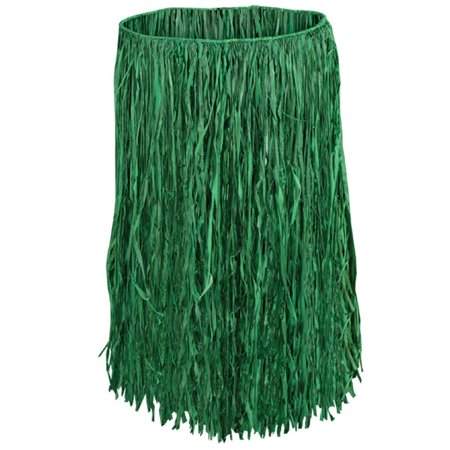 Club Pack of 12 Tropical Green Adult Sized Raffia Hula Skirts 31