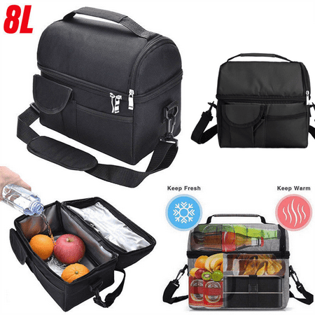Insulated Lunch Tote Bag Oxford Thermos Hot/Cooler Adults Tote Food Lunch Portable Bag Zipper Storage Box Waterproof For Picnic Food Women Men