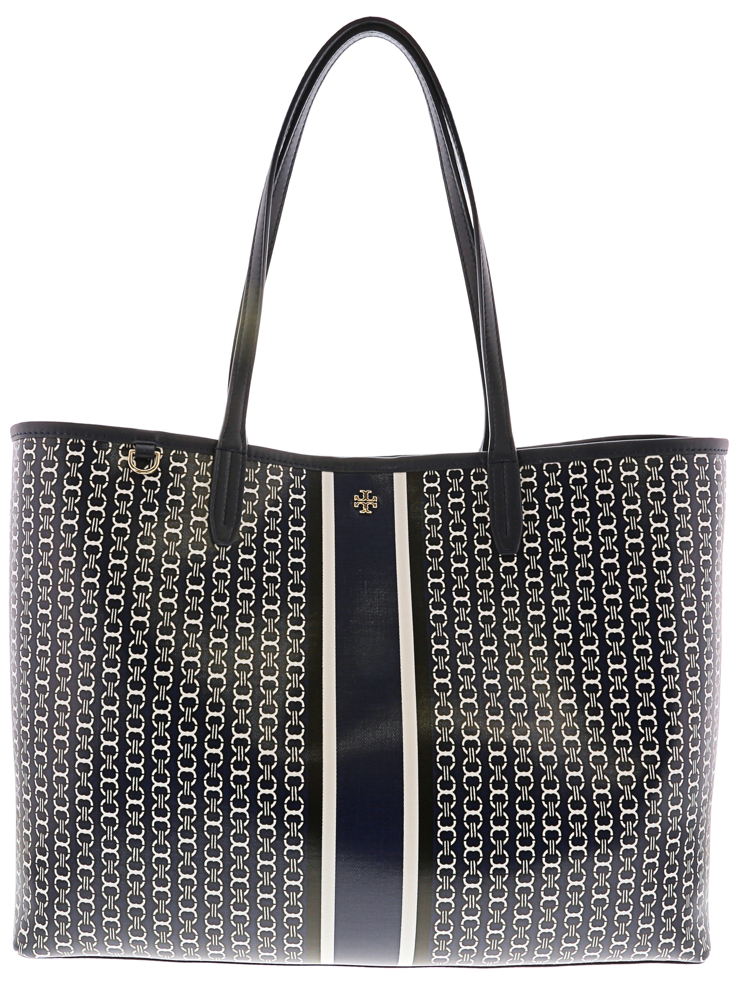 395b805dfcd Tory Burch - Tory Burch Women s Gemini Link Tote Canvas Top-Handle Bag - French  Gray Stripe - Walmart.com