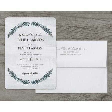 Personalized Wedding Invitation - Rustic Romance - 5 x 7 Flat - Personalized Wedding Koozies