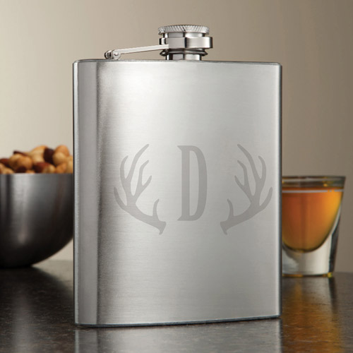 Personalized Antlers Flask