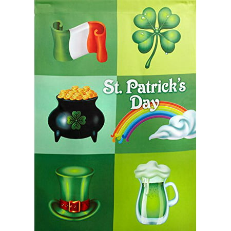 """Nantucket Home St. Patricks Day Irish Collage Double Sided Garden Flag, 12"""" X 18"""""""