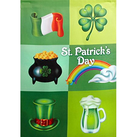 "Nantucket Home St. Patricks Day Irish Collage Double Sided Garden Flag, 12"" X 18"""
