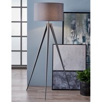Versanora Romanza Grey Tripod Floor Lamp With Gray Finish Shade