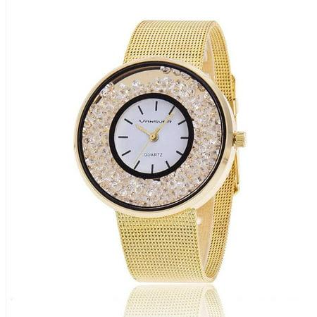 ON SALE - Floating Diamond Crystal Bezel Ladies Watch Yellow