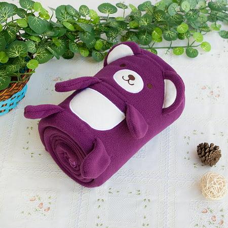 Baby Throw (Happy Bear - Purple Applique Coral Fleece Baby Throw Blanket (42.5