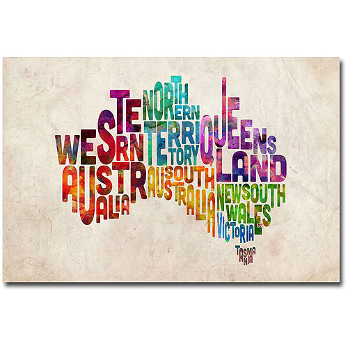 "Trademark Art ""Australia States Text Map"" Canvas Wall Art by Michael Tompsett"