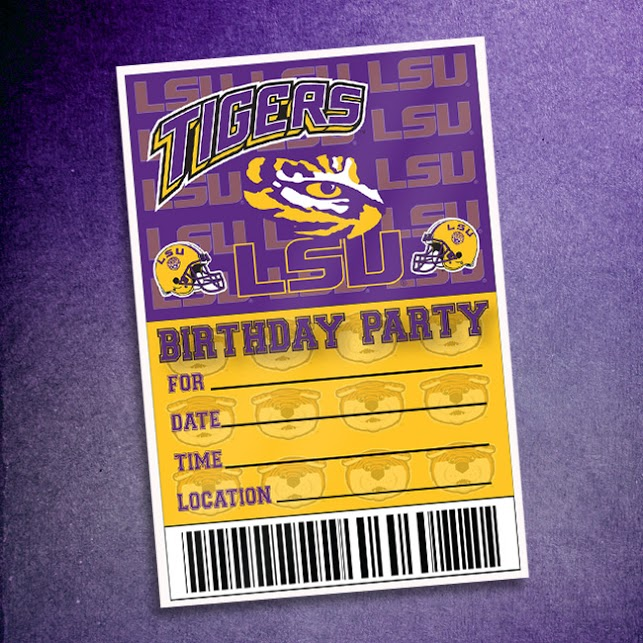 LSU Tigers Birthday Party 10 Pack Invitations Walmartcom