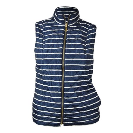 Reversible Quilted Vest - Charter Club Women's Reversible Striped Quilted Vest (L, Intrepid Blue Combo)