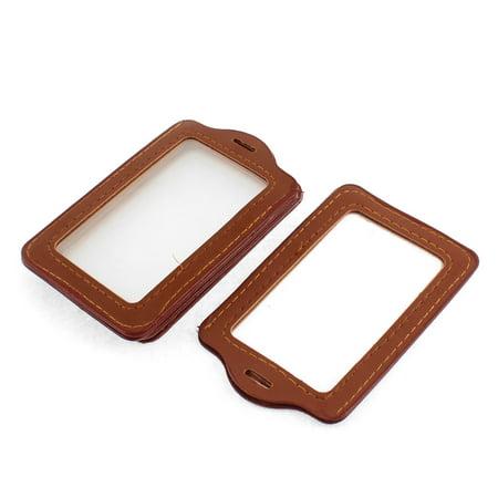 Clear Brown Plastic Vertical Badge ID Card Holder Pocket 5pcs - image 2 de 2