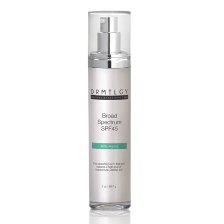 DRMTLGY Daily Anti Aging Facial Moisturizer with Clear Broad Spectrum Sunscreen SPF 45 using Zinc Oxide. Features Anti-Aging Ingredients Hyaluronic Acid and Niacinamide. UVA and UVB Protection. 2 (Best Moisturizer With Hyaluronic Acid And Spf)