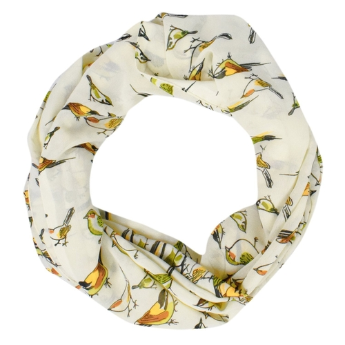 Peach Couture Light Weight Chic Bird Print Infinity Loop Circle Scarf Cream