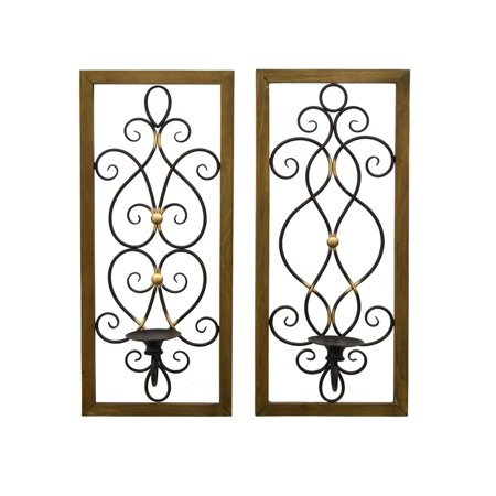 Wood Frame Metal Scroll Wall Sconce Candle Holder Set of 2 ()