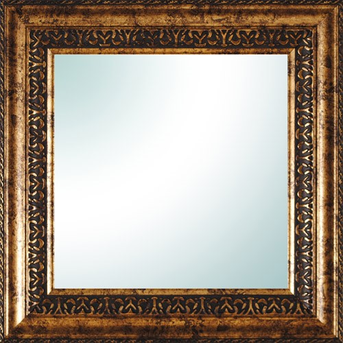 "14"" x 14"" Gold Ornate Square Mirror"