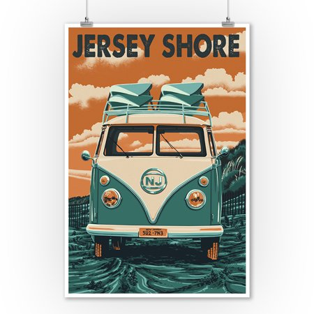 Jersey Shore - VW Van - Letterpress - Lantern Press Poster (9x12 Art Print, Wall Decor Travel Poster) - Jersey Shore Dress Up