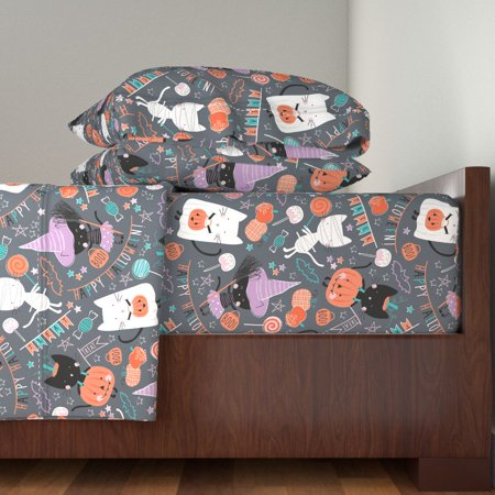 Kawaii Halloween Halloween Children'S 100% Cotton Sateen Sheet Set by Roostery