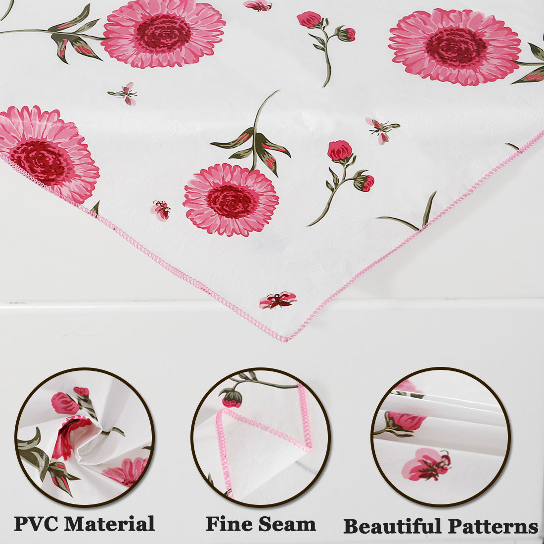 Vinyl Plastic Home Picnic Square Tablecloth Table Cloth Cover Water/Oil Stain Resistant Pink 35 x 35 Inch Sunflower Patt - image 5 of 8