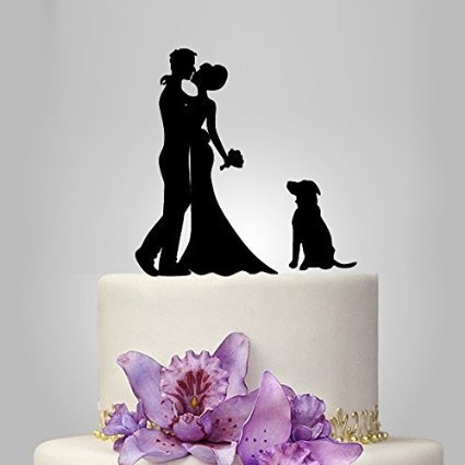Fabricmcc Kiss Bride And Groom Silhouette Romantic Wedding Cake Topper With A Cute Dog