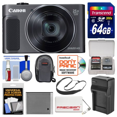 Canon Powershot Sx620 Hs Wi Fi Digital Camera  Black  With 64Gb Card   Case   Battery   Charger   Power Bank   Sling Strap   Kit