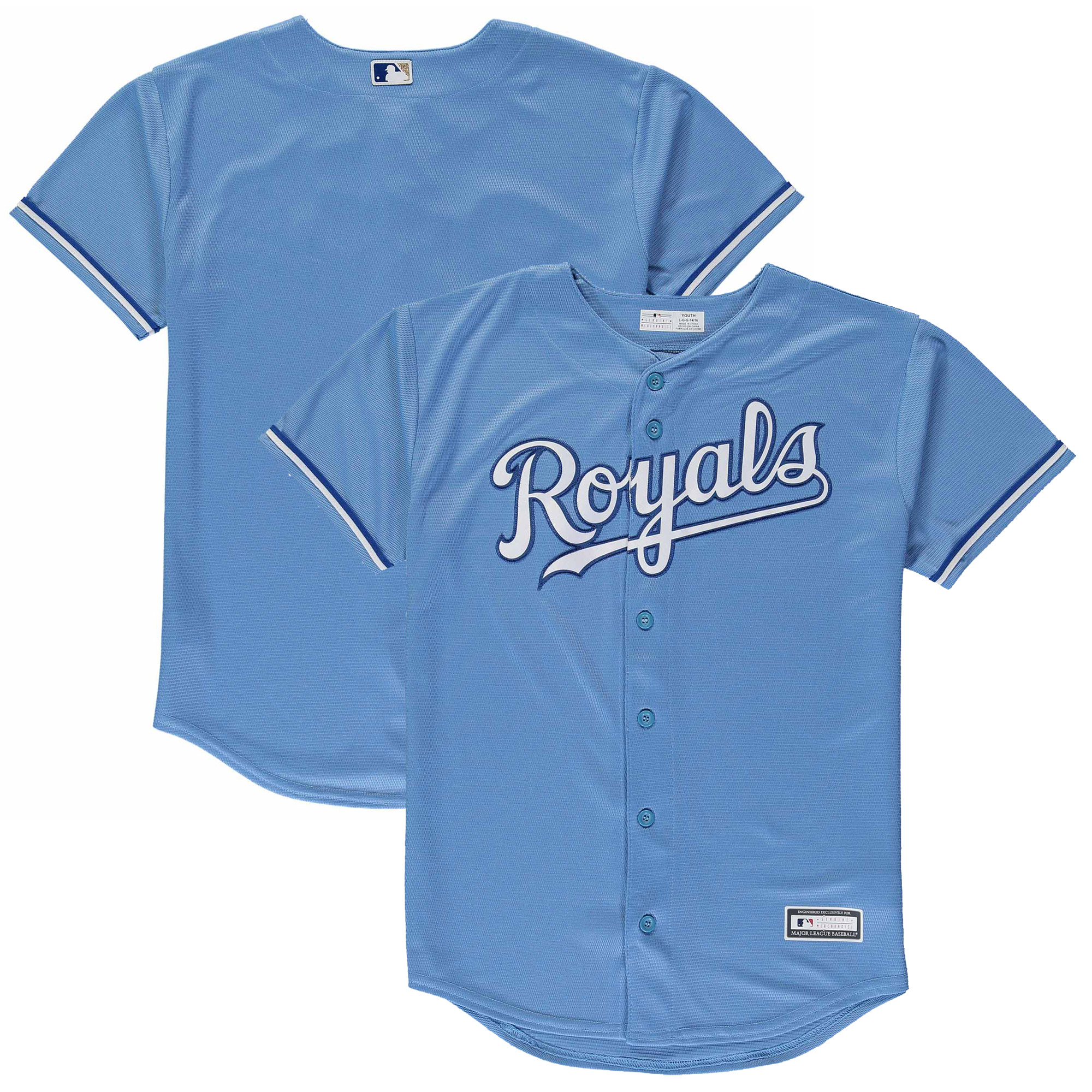 Kansas City Royals Youth Replica Blank Team Jersey - Light Blue
