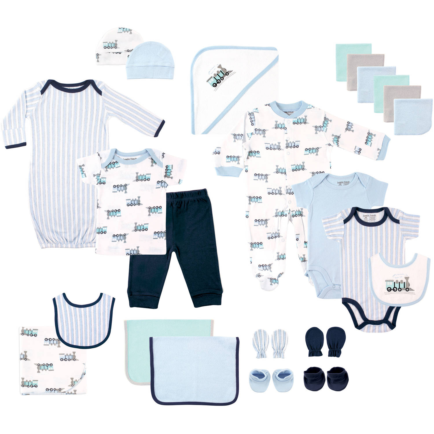 Luvable Friends Newborn Baby Boy Deluxe Coordinated Gift Set, 24pc