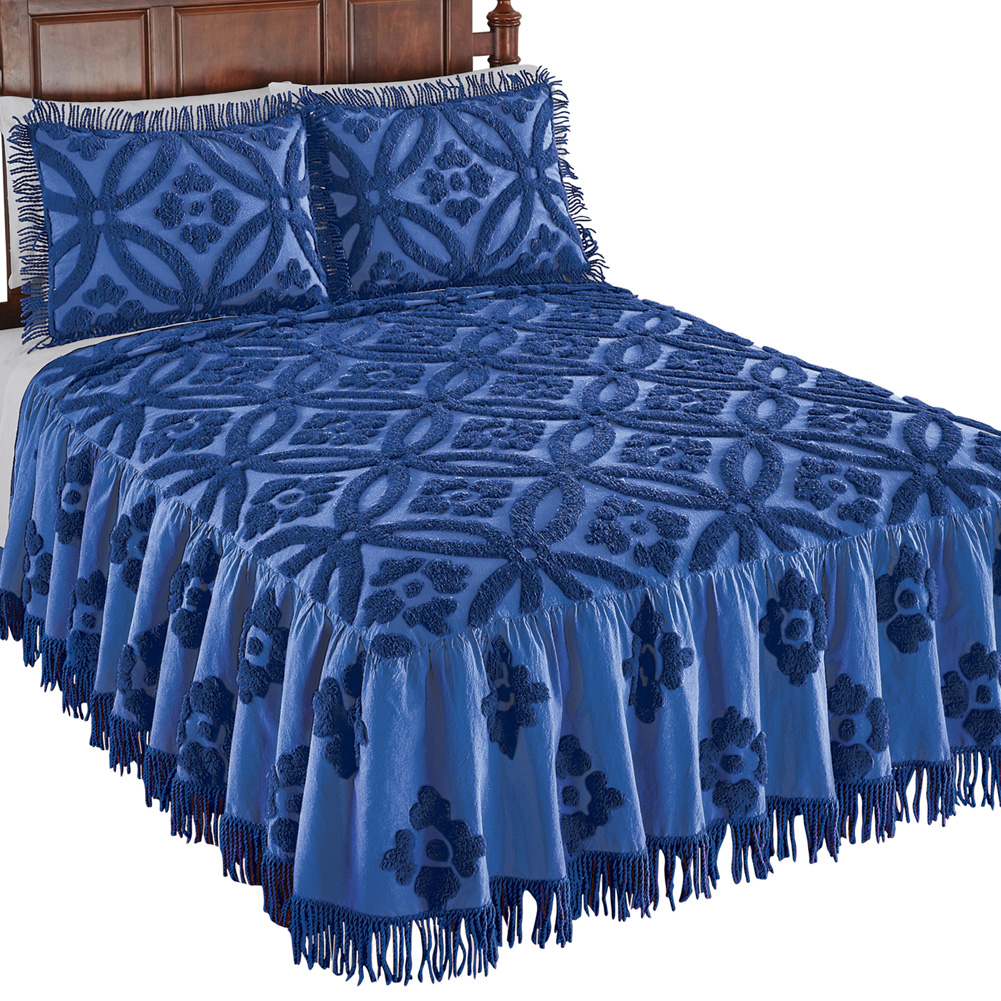 Serenity Wedding Ring Plush Chenille Bedspread with Fringe Trim, King, Royal Blue