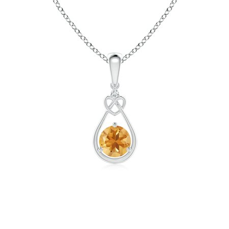 Citrine Knotted Heart Pendant with Diamond in 14K White Gold (5mm Citrine) - SP1085CTD-WG-A-5 ()