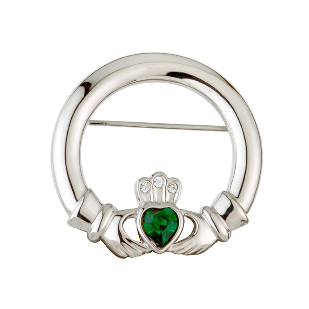 Solvar Rhodium Plated Green Crystal Claddagh Brooch by Solvar
