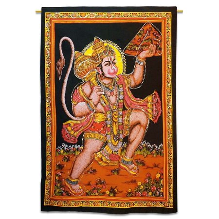 Oma Hanuman Monkey Lord Hanuman Tapestry Wall Hanging Meditation Decor HUGE SIZE 43 X 30 Inches - FREE MEDITATION BRACELET INCLUDED