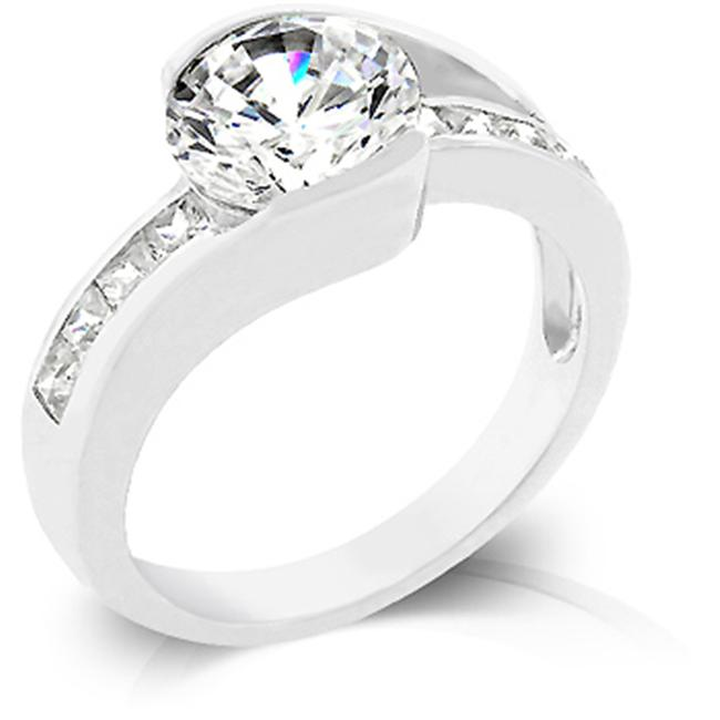Kate Bissett R07911R-C01-09 White Gold Rhodium Engagement Ring with Bar Set Round Cut Center Stone Flanked by Princess
