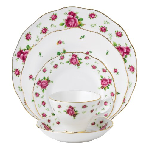 Royal Albert New Country Roses White Vintage Formal Place Setting, 5-Piece