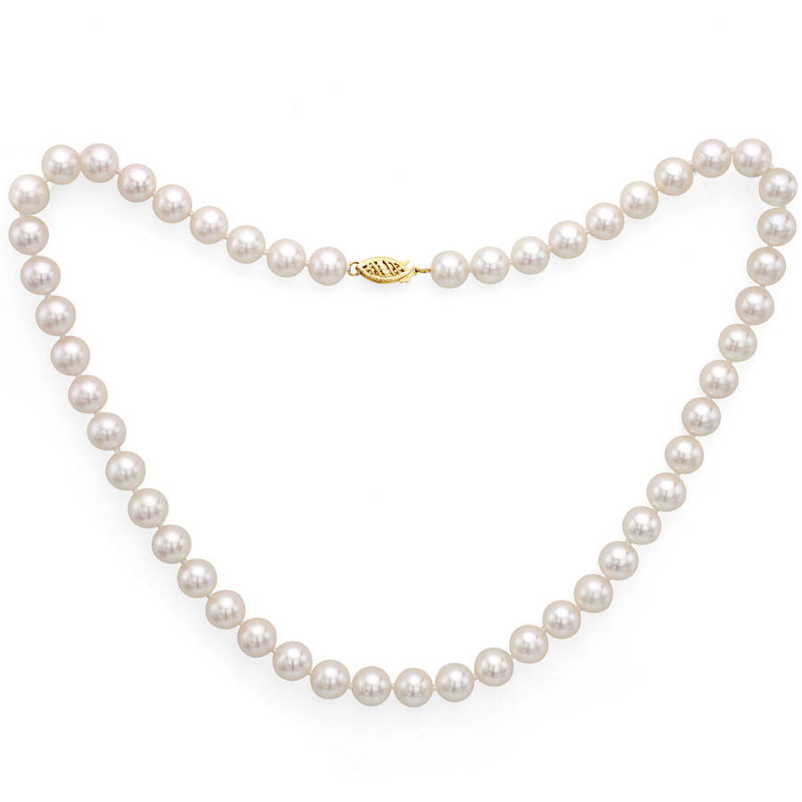 "6.5-7mm White Perfect Round Akoya Pearl 30"" Necklace with 14kt Yellow Gold Clasp by Generic"