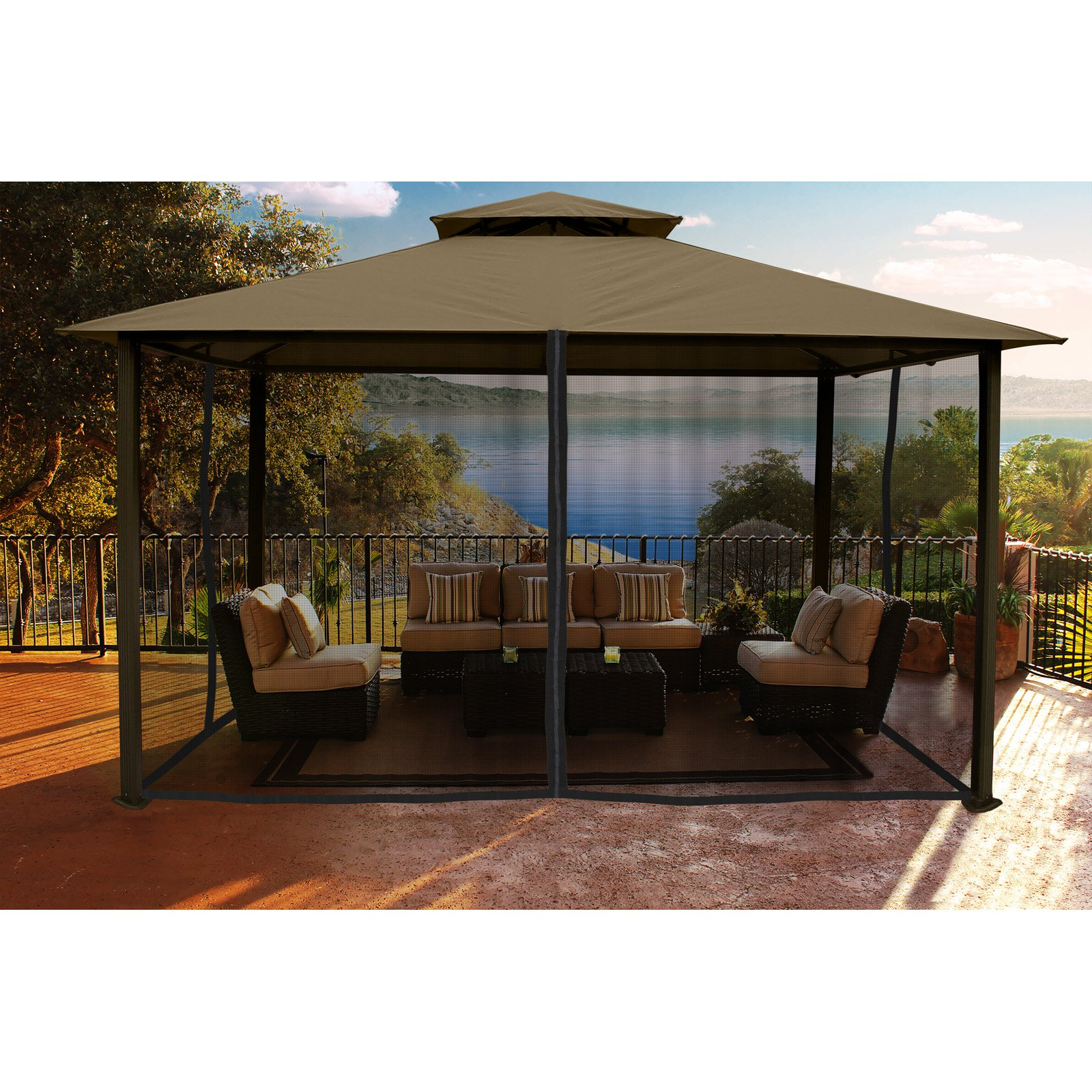 Madrid 11' x 14' Gazebo with Sand Top and Mosquito Netting