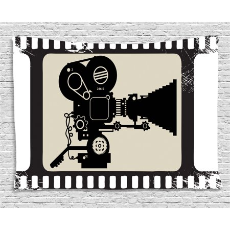 Movie Theater Tapestry, Movie Frame Pattern with Silhouette of Movie Reels in a Projector, Wall Hanging for Bedroom Living Room Dorm Decor, 60W X 40L Inches, Dark Taupe Beige Black, by Ambesonne (Movie Reel Decor)