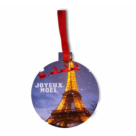 Santa and Sleigh Riding Over The Eiffel Tower on Christmas TM Flat Round-Shaped Hardboard Holiday Tree Ornament Made in the - Halloween's Over Bring On Christmas