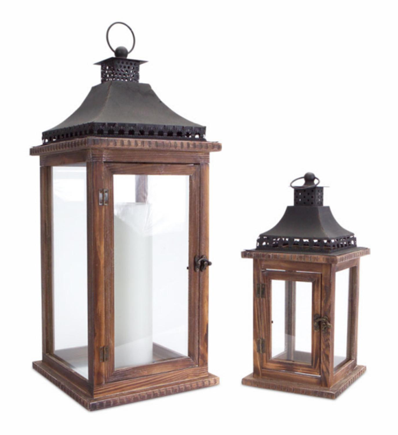 Set of 2 Cape Cod Wooden and Glass Pillar Candle Holder ...