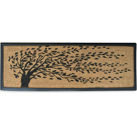 Rubber and Coir Molded 'Falling Leaves' Double Door Mat - 16