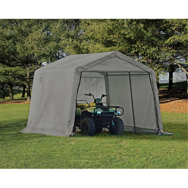 Go-for-Gold 10-10-8 Peak Style Storage Shed 1-.38 in. Frame Grey Cover