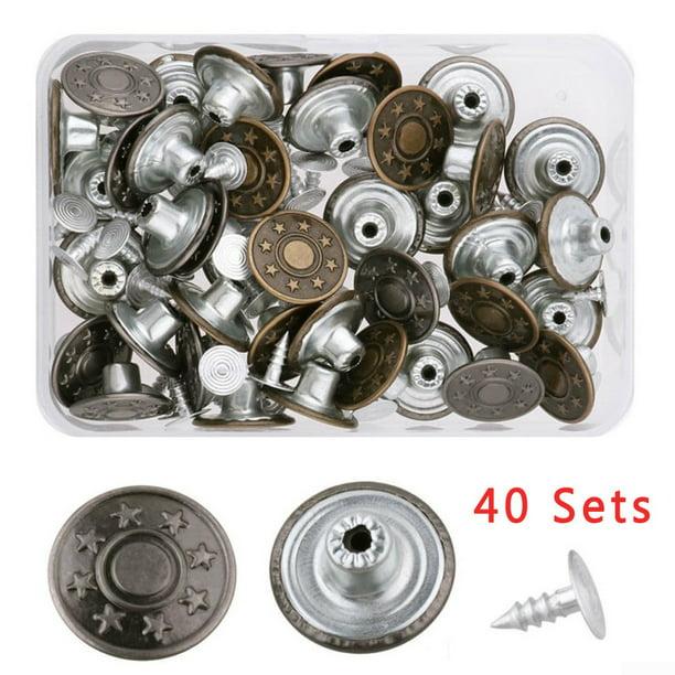 40 Sets Metal Denim Jeans Tack Snap Buttons Rivets For Repair Replacement Box Walmart Com