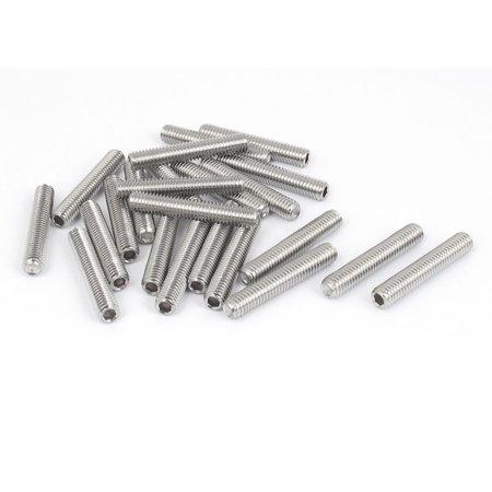 Unique Bargains M6x35mm Stainless Steel Hex Socket Set Cap Point Grub Screws Silver Tone 25Pcs