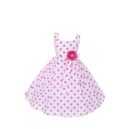 Little Girls Pink Polka Dots Easter Flower Girl Dress - Cinderella Dress Girls