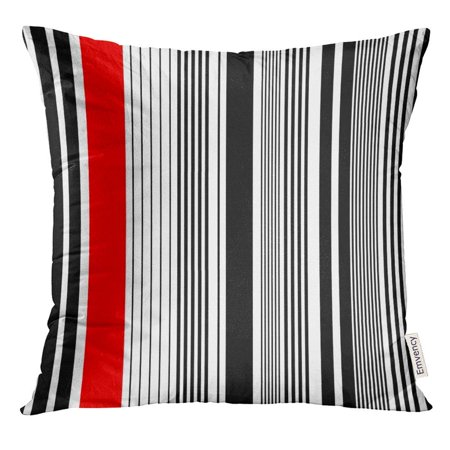 ARHOME Abstract Stripe Pattern Red White Minimal Black Pillow Case 16x16 Inches Pillowcase