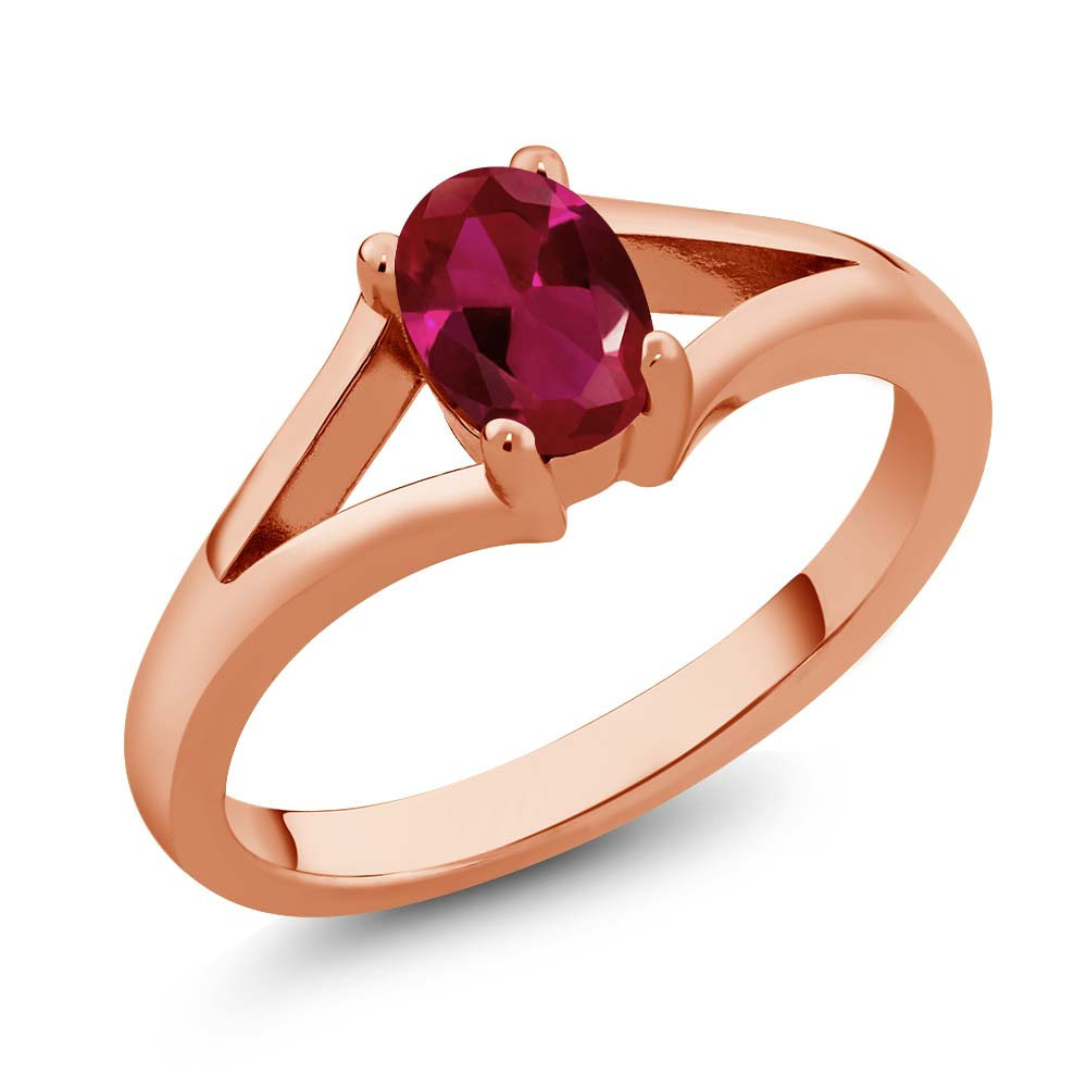 0.94 Ct Oval Red Created Ruby Rose Gold Plated Sterling Silver Solitaire Ring